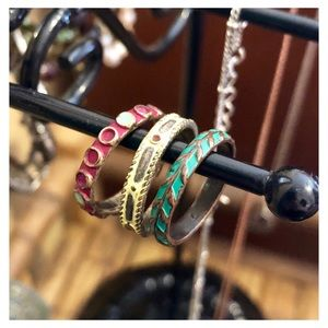 3 Multicolor Lucky Stack Rings